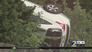 Stolen car crashes in to retaining wall, police say