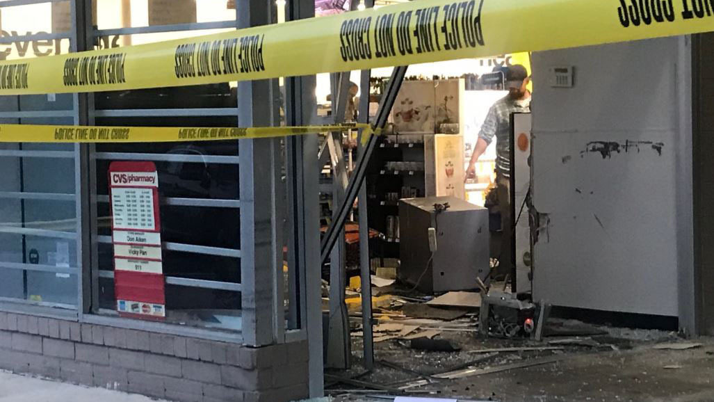thieves crash van into midtown cvs try to steal atm police say