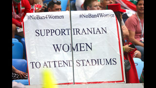 Banned from stadiums at home, Iranian women attend World Cup matches