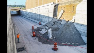 Wall collapses onto unfinished toll lanes in Cobb County