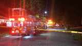 Crews on the scene of a fire at Harvel Drive and Hamilton E. Holmes Drive.