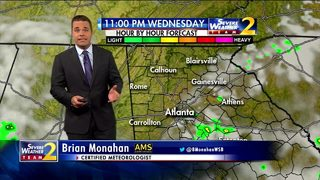 Partly cloudy skies, isolated showers Wednesday night