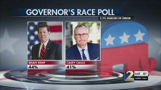As voters head to vote, poll shows Kemp with a slight lead over Cagle