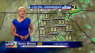 Reduced chance for scattered showers and storms Wednesday afternoon