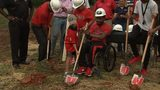 Devon Gales and family break ground on new home in Jefferson, Georgia.