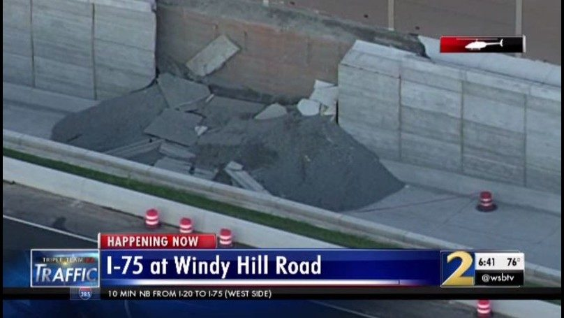 ATLANTA TRAFFIC UPDATES: Wall collapse exposed larger