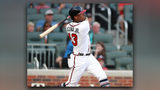 Ronald Acuna Jr. follows through on his home run in the bottom of the first inning of Tuesday's Braves-Marlins game at SunTrust Park. Curtis Compton/ccompton@ajc.com