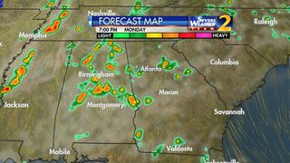 Showers, storms increasing across south metro Atlanta