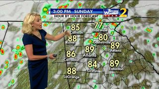 Scattered showers, storms ahead Sunday afternoon