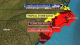 Hurricane warnings issued for areas along the coast as Cat. 4 Florence approaches