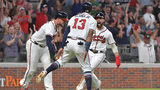 Ronald Acuna Jr. (13) and Ender Inciarte (right) score on a 2 RBI single by Johan Camargo (17) during the 7th inning at SunTrust Park on Friday, September 21, 2018. Atlanta Braves won 6-5 over the Philadelphia Phillies. HYOSUB SHIN / HSHIN@AJC.COM