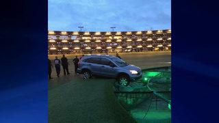 Stolen car drives onto Topgolf course, gets stuck on target