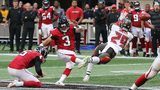 Atlanta Falcons kicker Matt Bryant just gets off the field goal for a 34-29 lead over the Tampa Bay Buccaneers during the final minute Sunday, Oct. 14, 2018, in Atlanta. (Photo: Curtis Compton, AJC)