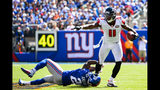 Prince Amukamara #20 of the New York Giants attempts to tackle Julio Jones #11 of the Atlanta Falcons during a game at MetLife Stadium on September 20, 2015 in East Rutherford, New Jersey. (Photo by Alex Goodlett/Getty Images)