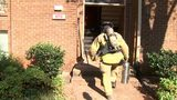 Firefighter going into the building