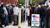 People wait in a long line to vote Saturday at the Cobb County Board of Elections and Registration Office in Marietta. STEVE SCHAEFER / SPECIAL TO THE AJC.