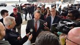 "November 5, 2018 Atlanta - GOP gubernatorial candidate Brian Kemp speaks to members of the press ahead of his ""Putting Georgians First"" flyaround tour at Peachtree DeKalb Airport on Nov. 5, 2018."