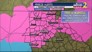 Freeze warning in effect for most of metro Atlanta as temperatures plunge