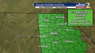 Flash Flood Watch issued for most of north GA until Thursday morning