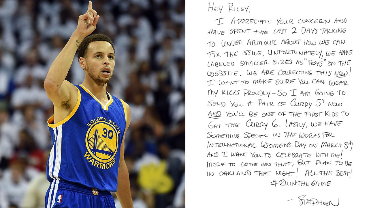 9b9e60ca41e STEPH CURRY LETTER TO LITTLE GIRL OVER SNEAKERS  Here s another reason why  so many people love Stephen Curry