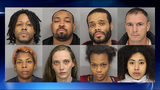 Eight people were arrested at a hotel during a sex sting. Top row: Jonathan Young, Dick Myers, Clifton Smith and Willie Newson. Bottom row: Amanda Waddell, Bianca Fraser, Brittany Barnes