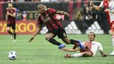 Atlanta United midfielder Darlington Nagbe (6) gets tripped up against the New England Revolution during the first half Saturday, Oct. 6, 2018, at Mercedes-Benz Stadium in Atlanta. Photo: John Amis/For the AJC