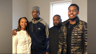 Injured football player from Atlanta continues to improve, visits family