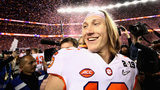 Clemson QB Trevor Lawrence reacts after his teams 44-16 win over the Alabama Crimson Tide in the CFP National Championship presented by AT&T at Levi's Stadium on January 7, 2019 in Santa Clara, California. (Photo by Ezra Shaw/Getty Images)