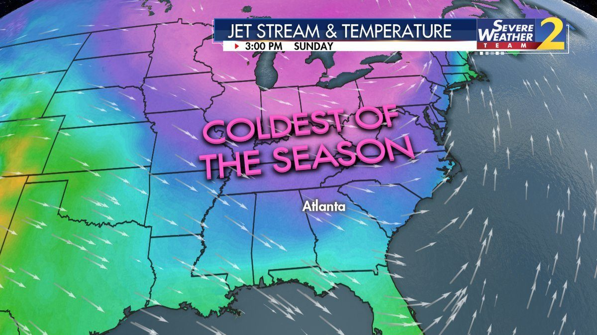 Flurries possible Sunday in north Georgia as cold air moves