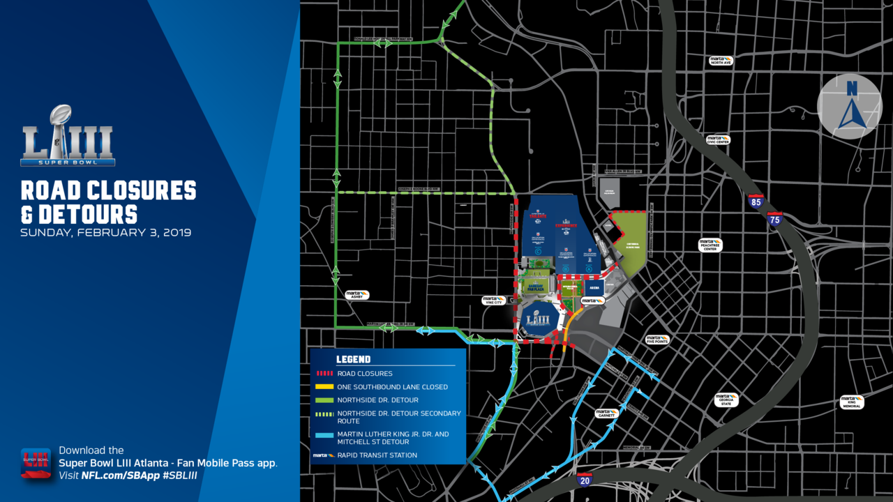 SUPER BOWL ROAD CLOSURES: These Atlanta streets will be