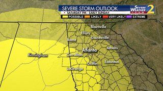 Heavy rain, strong storms possible in parts of north Georgia later today
