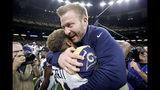 Head coach Sean McVay of the Los Angeles Rams celebrates Gerald Everett #81 after defeating the New Orleans Saints in the NFC Championship game at the Mercedes-Benz Superdome on January 20, 2019. (Photo by Streeter Lecka/Getty Images)