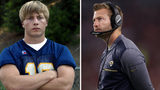 Sean McVay as Marist QB in 2003 vs Sean McVay as Rams Head Coach. The Rams also have former Fayetteville star Matt Daniels on their staff. Photo: KEITH HADLEY/AJC staff (L) and Christian Petersen/Getty Images (R)