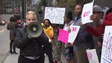 A group of people rallied outside the Opera nightclub on Wednesday, trying to bring to light a sex assault that allegedly took place inside over the weekend.