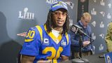 Former University of Georgia star and current Rams running back Todd Gurley speaks to the media during Wednesday's event in Buckhead. (Photo: Alyssa Pointer, AJC)