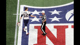 Tom Brady #12 of the New England Patriots greets referee John Parry #132 prior to Super Bowl LIII against Los Angeles Rams at Mercedes-Benz Stadium on February 03, 2019 in Atlanta, Georgia. (Photo by Rob Carr/Getty Images)