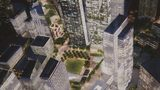 Renderings of The Stitch, a park that would go over the Downtown Connector