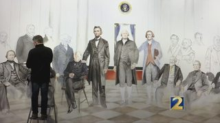Artist paints centuries of United States presidents at Booth Western Art Museum