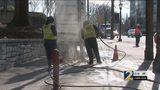 Road work ties up traffic in Midtown Atlanta