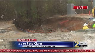 Crews hope to repair massive sinkole on major Gwinnett road by Wednesday