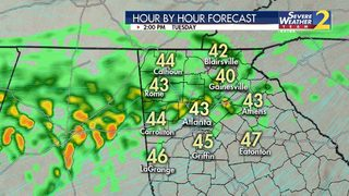 Sleet falling in the mountains; Rain, storms moving through metro Atlanta