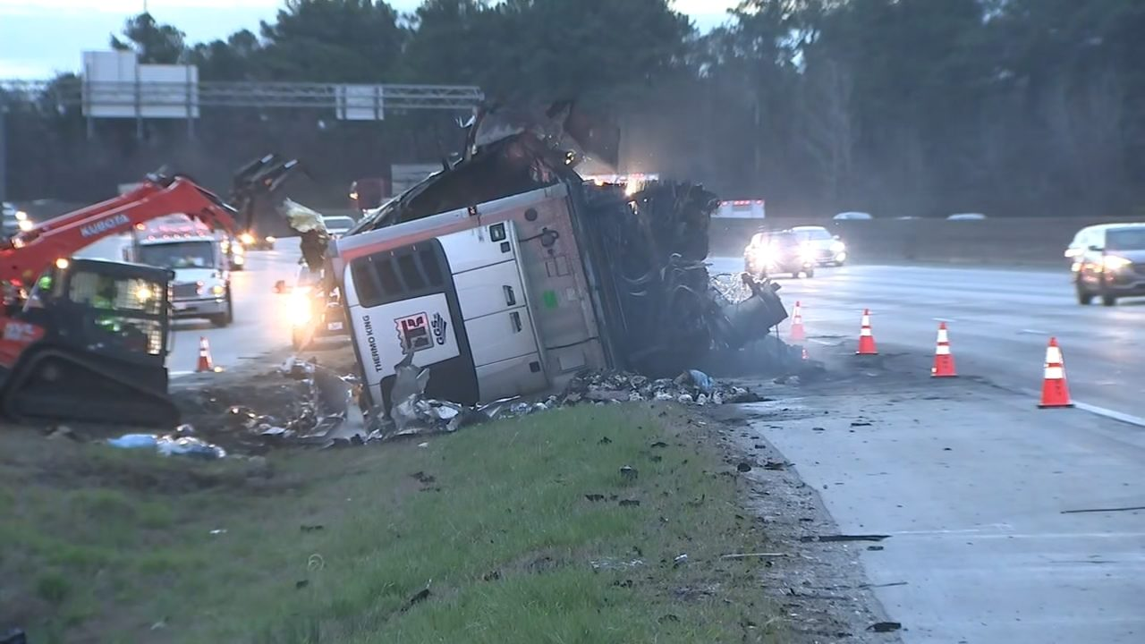 Tractor-trailer hauling 40,000 lbs of chicken catches fire on