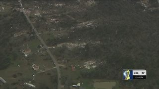 Aerial tour shows miles of tornado damage on Alabama-Georgia state line