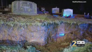 Retaining wall collapse unearths graves at Rome cemetery
