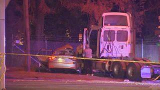 Uber passenger killed when semi crashes into car in Atlanta