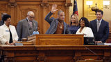 """Atlanta rapper Clifford """"T.I."""" Harris was in the Georgia Senate on Friday to be recognized for his work with the community. State Sen. Donzella James, D-Atlanta, sponsored the resolution that recognized Harris. Bob Andres / bandres@ajc.com"""