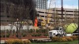 Raging fire at construction site causes crane to collapse