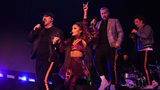 INDIO, CALIFORNIA - APRIL 14: (L-R) Joey Fatone, Ariana Grande, Lance Bass, and JC Chasez perform on Coachella Stage during the 2019 Coachella Valley Music And Arts Festival on April 14, 2019 in Indio, California.