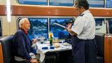 Washington DC, Union Station, Amtrak, dining car, waitress taking order.
