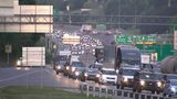 Traffic on Interstate 285 Wednesday morning after a crash left three people hurt.